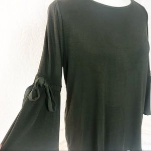 WHBM olive green blouse with bell sleeves Sz Large